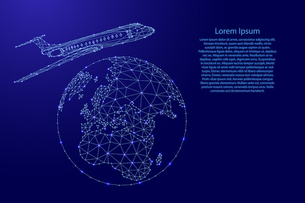 Airplane is flying around the globe from futuristic polygonal blue lines and glowing stars