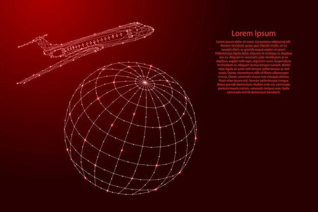 Airplane is flying around the globe from futuristic polygonal red lines