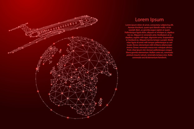 Airplane is flying around the globe map from futuristic polygonal red lines and glowing stars for banner, poster, greeting card.