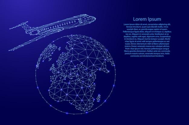 Самолет летит вокруг земного шара из футуристических многоугольных синих линий и светящихся звезд