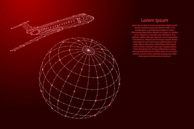 飛行機は未来的な多角形の赤い線から世界中を飛んでいます。