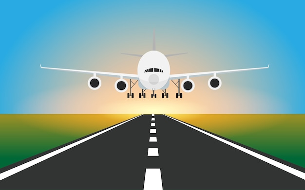 Airplane is landing into the runway in the airport