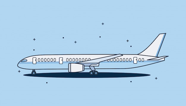 Airplane isolated on blue background. design airplane flat style.