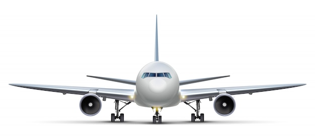 Airplane. isolated on white background aircraft, front view.