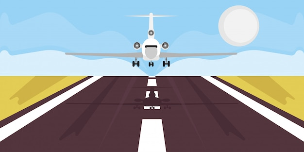 Airplane landing illustration travel vacation. business trip boarding airline departure.