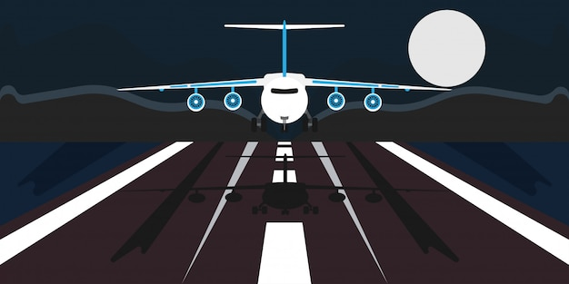 Airplane landing illustration