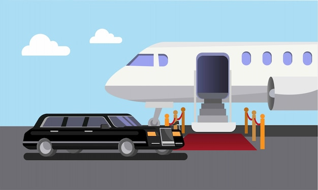 Airplane limousine car and red carpet, departure, arrival flat illustration