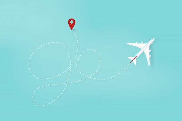 Airplane line path, go travel route. airplane flight route with start point and dash line. vector