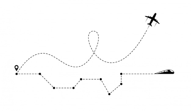 Airplane line path icon of airplane flight route and train railway with start point.