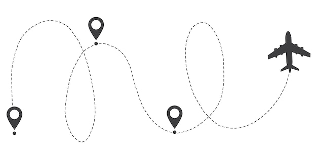 Airplane line path route. start point and dash line trace.