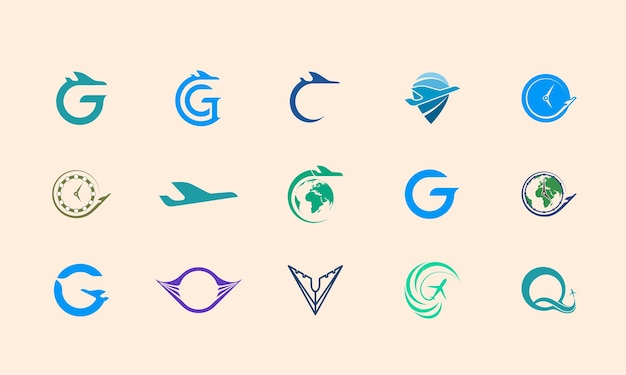 Airplane logo design, logo template set suitable for travel agency identity