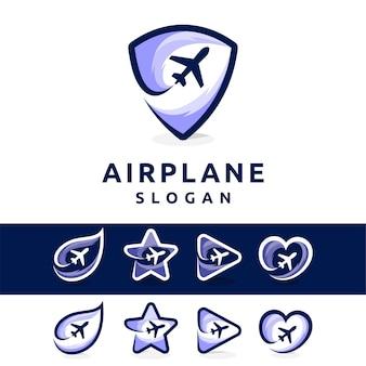 煙の概念を持つ飛行機のロゴ