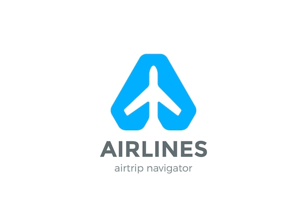 Airplane navigator pointer logo icon. negative space style.