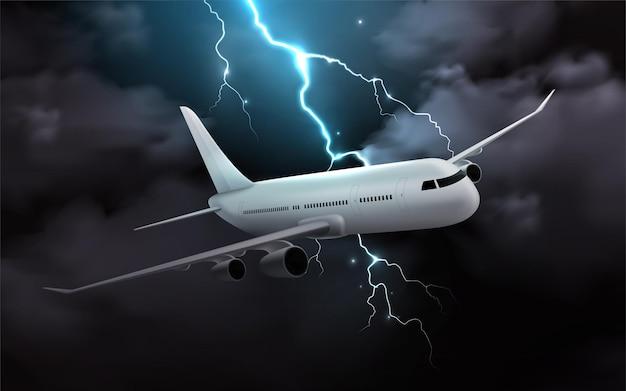 Aeroplano nell'illustrazione realistica della tempesta di notte
