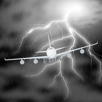 Airplane night storm realistic. jet in thunderstorm clouds with thunderbolt