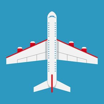 상위 뷰의 비행기입니다. 평면 스타일의 항공기 아이콘입니다. 벡터 일러스트 레이 션.