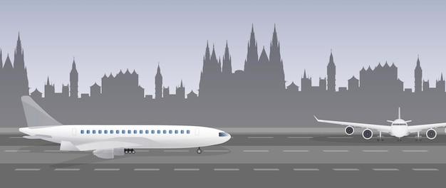 활주로에 비행기
