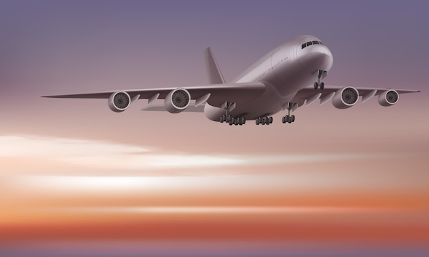 일출 또는 일몰 하늘 배경 투시도에 비행기