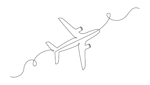Airplane in one continuous line drawing. editable stroke. simple vector illustration in linear style
