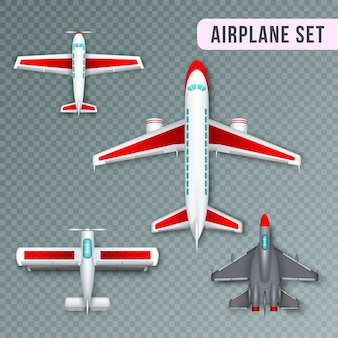 Airplane passenger propeller and jet planes and military aircraft realistic top view images collection transparent