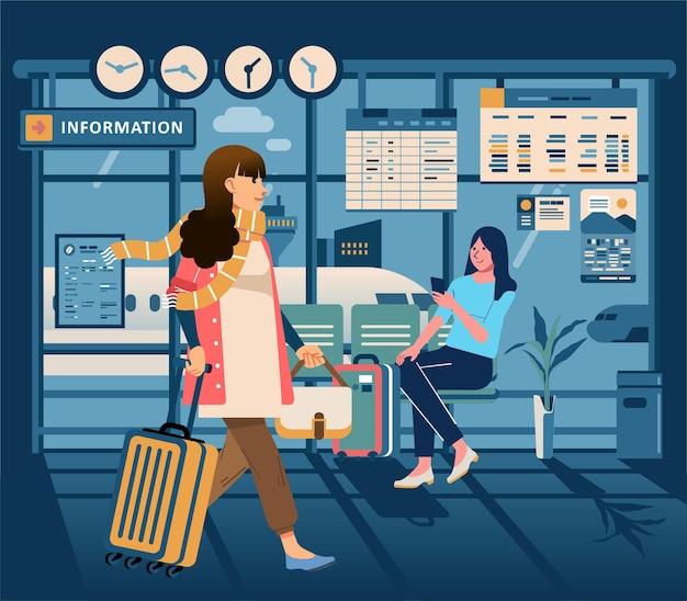 대기실에서 비행기를 기다리는 비행기 승객, 백그라운드에서 비행기와 공항 내부