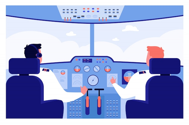 Airplane pilots at control panel navigating plane