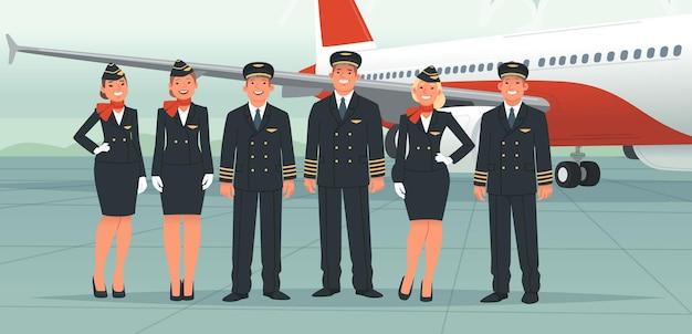 Пилоты самолетов, бортпроводники, сотрудники авиакомпаний. экипаж на фоне пассажирского самолета. стюардессы и бортинженер, капитан корабля и второй пилот. векторная иллюстрация в плоском стиле