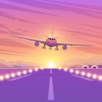 Airplane on pink background with sunset. a flying plane in sky. landing illustration.