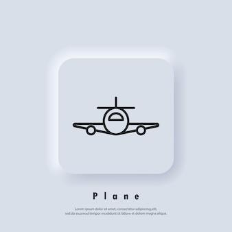 飛行機、飛行機のアイコン。旅行代理店のバッジのロゴ。飛行機のアイコン。ベクター。 uiアイコン。 neumorphic uiuxの白いユーザーインターフェイスのwebボタン。