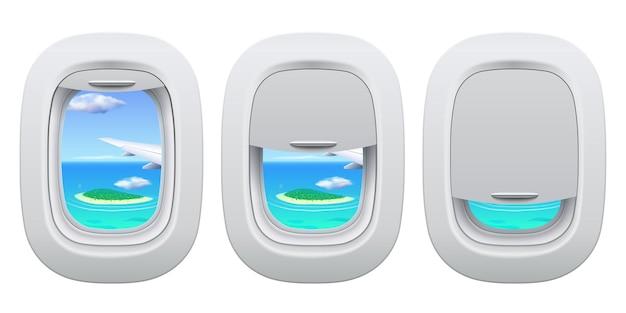 飛行機の舷窓ビュー。海の島のビュー内の平面の開閉ウィンドウ。航空機のコンセプトで旅行し、休暇に行きます。緑と水が外にある飛行機の翼