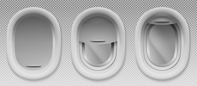 Airplane portholes with open and closed shade