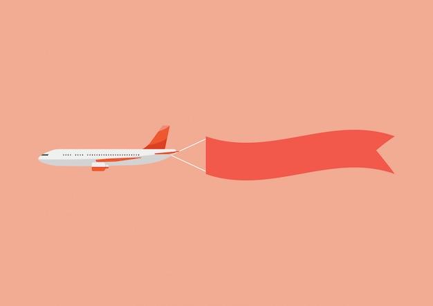 飛行機はバナーを引っ張る。ベクトルイラスト