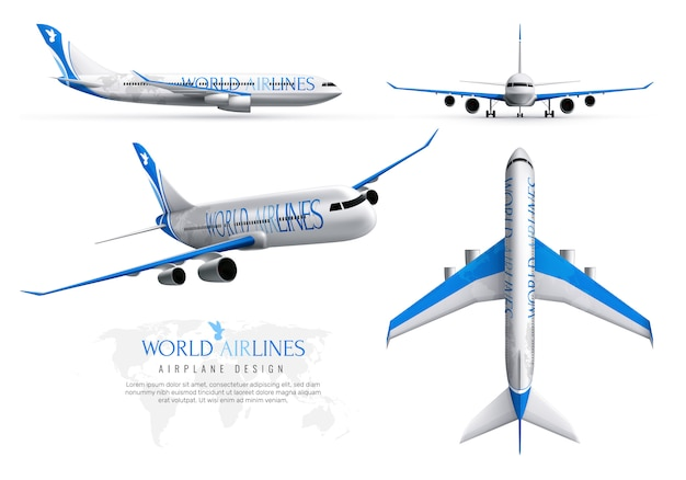 Airplane realistic identity set of world airlines in various views isolated