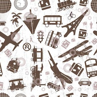 Airplane retro seamless template