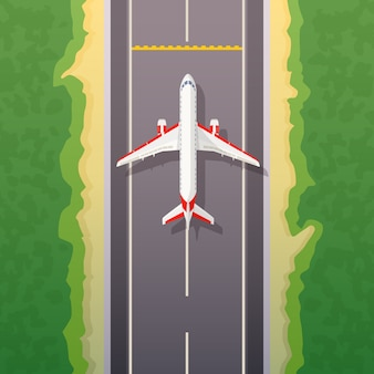 Airplane on road. landing illustration. travel by airplane, private airlines and transportation