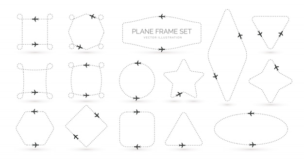 Airplane route  creative simple borders set