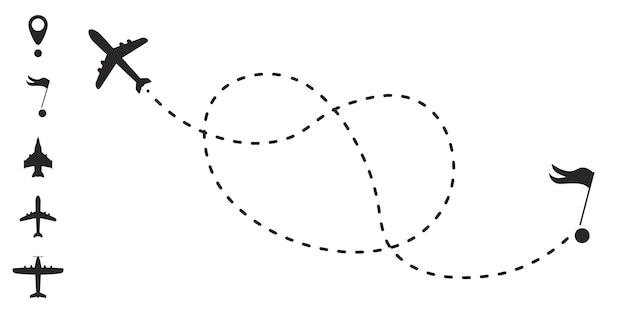 Airplane route in dotted line shape. a route from a line in the form of points. travel concept