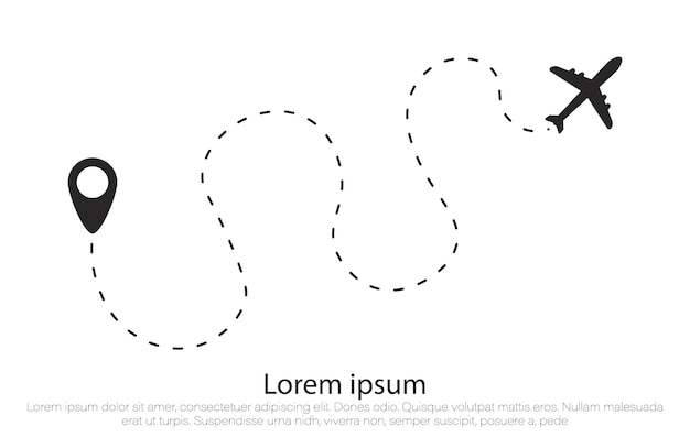 Airplane route in dotted line shape