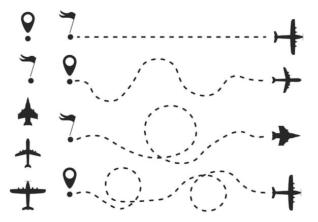 Маршрут самолета в форме пунктирной линии. маршрут от линии в виде точек. концепция путешествия