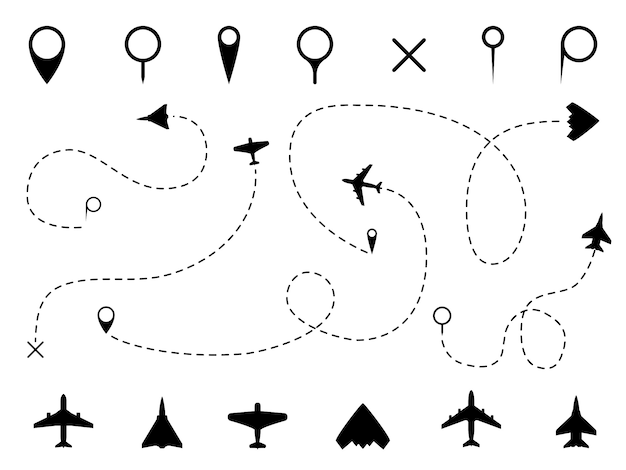Airplane route. plane trace line, aeroplanes pathways flight lines, planning routes travels pointers traffic track path set