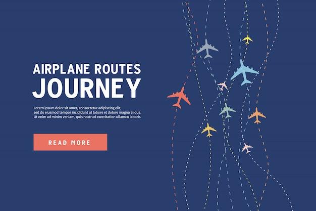Самолет маршруты путешествия баннер шаблон.