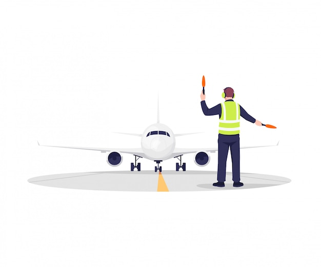 Airplane runway controller illustration
