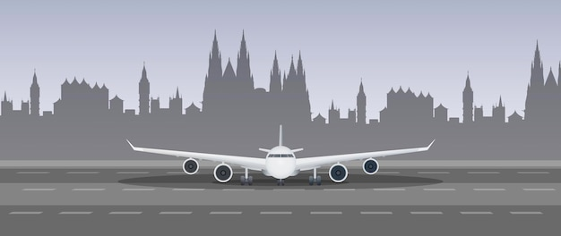 Airplane on the runway illustration
