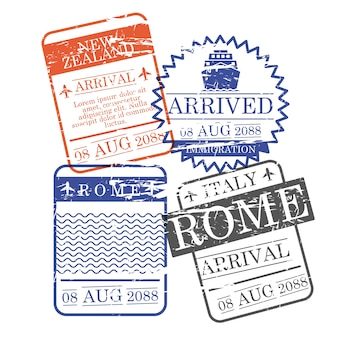 Airplane and ship arrival square stamps