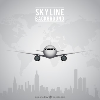Airplane and skyline background