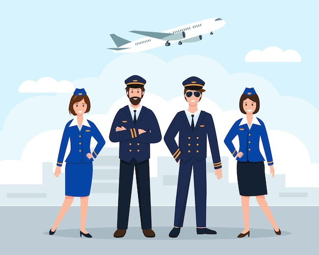 Airplane staff or crew at the airport or pilot assistants and stewardesses in uniform