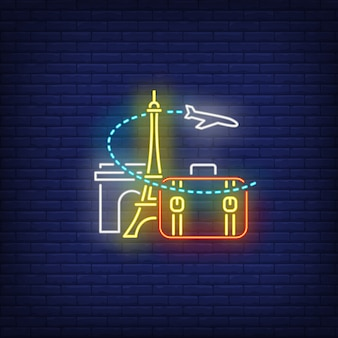 Airplane, suitcase, eiffel tower and arc de triomphe neon sign Free Vector