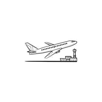 손으로 그린 개요 낙서 아이콘을 이륙하는 비행기. 공항 교통, 비행 비행기 및 활주로 개념
