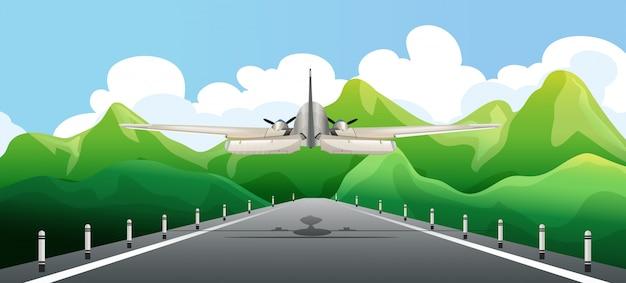 활주로 이륙 비행기