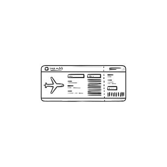 Билет на самолет рисованной наброски каракули значок. путешествие на самолете, посадочный талон и аэропорт, концепция полета. векторная иллюстрация эскиз для печати, интернета, мобильных устройств и инфографики на белом фоне.